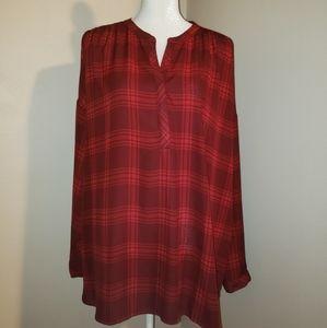 ANA Size 1X Red Plaid Blouse.  EUC.